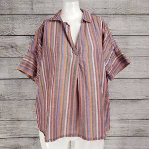 Madewell M Courier Button Back top Rainbow stripe